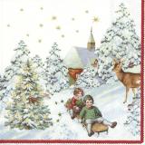 Zwei Kinder rodeln von der Kirche an einem Reh und zwei kleinen Vögeln in der leuchtenden Tanne vorbei