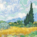 Ein Weizenfeld in malerischer Landschaft gebettet