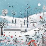 Viele Vögel fligen zu einem Winterdorf mit roten Beeren