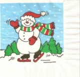 Schneemann auf Schlittschuh