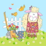 Kleines Schaf im Garten - Little gardening sheep - Petit mouton de jardinage