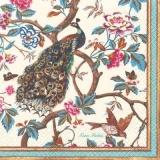 Pfau, kleiner Vogel & Schmetterlinge in blühendem Baum - Peacock, small bird & butterflies in blooming tree - Paon, petit oiseau & papillons dans larbre florissant