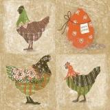 6 Hühner & 2 Ostereier - Country Easter