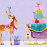 2 Rentiere, 2 Weihnachtsbäume, Rotkehlchen, Schlitten & Geschenke - 2 Reindeer, 2 x-mas Trees,  Robin, Sleigh & Gifts - 2 Renne, 2 arbres de Noël, rouge-gorge, traîneau & cadeaux