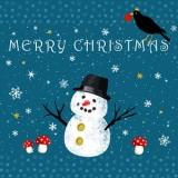 Merry Christmas Snowman & Bird