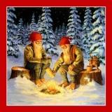Nisser am Feuer im Winterwald - Dwarfs / Nisser by the fire in the winter wood - Nains/Nisser au feu dans la forêt dhiver