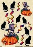 Hexe & schw. Katze - Witch & Halloween Cat