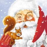 Weihnachtsmann mit Eichhörnchen - Santa with Squirrel - Père Noël avec Écureuils
