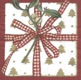 Geschenk mit rot/weißem Band