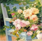 Blumen auf der Gartenbank - Flowers on a bench - Fleurs sur un banc de jardin