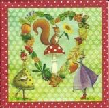 Herz mit Eichhörnchen & Blumenfrauen - Heart with squirrel & flower ladies - Coeur avec écureuil et dames de fleurs