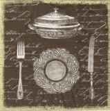 Besteck,Eingedeckt in Altsilber - Crockery and cutlery in antique silver