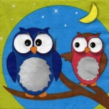 4 Eulen bei Nacht - 4 Owls in the night . 4 hiboux dans la nuit