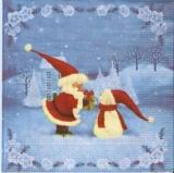 Santa mit Geschenk für Schneemann - Santa with gift for snowman - Père Noël avec un cadeau pour les bonhomme de neige