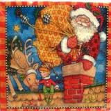 Santa auf dem Dach mit Weihnachtself & Rentier - Santa on the roof with Christmas elf & reindeer - Père Noël sur le toit avec elfe de Noël et renne