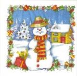 Freudiger Schneemann  - Happy Snowman - Bonhomme de neige heureux