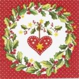 Herz im Ilexkranz - Heart in wreath - Coeur dans couronne
