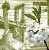 New York, Freiheitsstatue, Brooklyn Brücke, Dollar, Wall Street, Obstblüte - Statue of Liberty, Brooklyn bridge, spring blossom