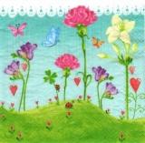 Herziger Blumengarten mit Marienkäfer & Schmetterlingen - Flowers, hearts, ladybirds & butterflies - Jardin dagrément mignon avec la coccinelle & les papillons