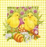 3 Küken auf einer Osterwiese - 3 Chicks on an  Easter meadow -  Poussins de Pâques