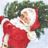 Santa mit Weihnachtsbaum - Santa Claus with tree - Père Noël avec larbre de Noël