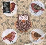 Eule & Vögel creme - Owl & Birds - Hibou et oiseaux