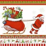 Santa zieht Geschenke auf Schlitten - Santa pulls gifts on sledge - Père Noël tire cadeaux sur luge