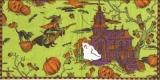 Halloweennacht mit Eule, Katze, Hexe, Kürbis, Geist & Fledermäusen - Halloween night with owl, cat, witch, jack-o-lantern, ghost and bats - Nuit dHalloween avec le hibou, chat, sorcière, citrouille,