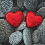 Rote Herzen aus Stein - Red hearts made of stone - Coeur rouge en pierre