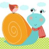 Schnecke Lorena & Vogel orange - Snail & bird - Escargot & oiseaux
