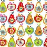 Apfel & Birnen mit Blumen-Muster - Apples & Pears with Flower Pattern - Pommes & poires avec motif de fleurs