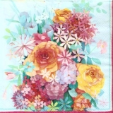 Bunte Blumenpracht mit Rosen - Colorful flowers with roses - Fleurs colorées avec des roses