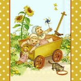 Kinder, Bollerwagen, Vogel, Kätzchen & Sonnenblumen - Children, cart, bird, kitten & sunflower -  Enfants, chariot, oiseau, chaton et de tournesol