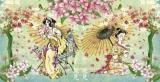 2 asiatische Fraunen mit Blumen & Vogel - 2 asian women with flowers & bird - 2 femmes asiatiques avec des fleurs et des oiseaux
