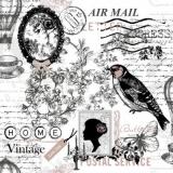Collage, Heißluftballon, Vogel..... - Vinatge, Air balloon, Bird.... - Montgolfière, Oiseau, Fleur....