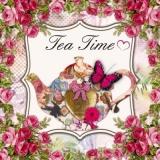 Kanne, Rosen & Schmetterling - Pot, roses & butterfly - Théière roses et le papillon