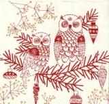 Eulen auf Zweig mit Baumschmuck - Owls on branch with tree ornaments - Hiboux sur la branche avec des ornements darbre