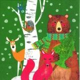 Bär, Fuchs, Reh, Vogel grün - Bear, fox, deer, bird green - Ours, le renard, le cerf, oiseau vert