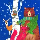 Bär, Fuchs, Reh, Vogel blau - Bear, fox, deer, bird blue - Ours, le renard, le cerf, oiseau