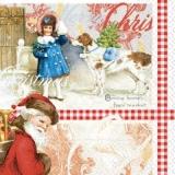 Nostalgischer Weihnachtsmann & Kind mit Hund - Nostalgic Santa Claus, child with dog - Nostalgique Père Noël, enfant avec un chien