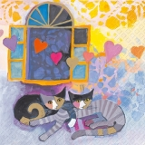 Rosina Wachtmeister - Katzen vor offenem Fenster, fliegende Herzen - Cats in front of open windows, flying hearts - Chats devant les fenêtres ouvertes, coeurs de vol