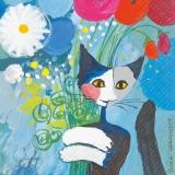 Rosina Wachtmeister - Katze umarmt Blumen, For you - Cat hugging flowers - Fleurs de chat étreignant