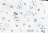 Mickey Mouse, Minnie, Pluto, Goofy, Donald & Daisy, Motiv hellblau - Motif lightblue - Bleu clair motif