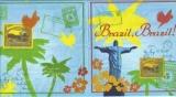Grüße aus Brasilien, Briefmarken, Palmen - Greetings from Brazil, Stamps, palms - Salutations du Brésil, timbres, paumes
