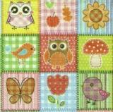 Eulen, Vogel, Schmetterling........ - Colorful collage with owls, bird..... -  Collage coloré avec les hiboux, oiseau....