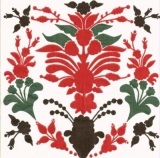 Blumenmuster rot-schwarz-grün - Floral pattern in red-black-green - Motif floral en rouge-noir-vert