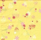 Blumen, Schmetterlinge, Herzen & Törtchen gelb - Flowers, butterflies, hearts & Tarts - Fleurs, papillons, des coeurs & tartelettes