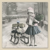 Nostalgisches Mädchen mit Schlitten, Geschenken, Blumenstrauß - Nostalgic Girl with sledge, gift, bouquet - Fille nostalgique avec traîneau, cadeau, bouquet