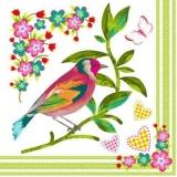 Bunter Vogel,Blumen, Herzen & schmetterling - Colourful bird, flowers, hearts & butterfly - Oiseaux colorés, fleurs, cœurs et papillon