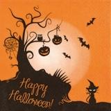 Katze mit Hexenhut, Fledermäuse, Kürbisse, Halloween - Cat with Witchs Hat, bats, pumpkins - Chat avec un chapeau, chauves-souris, citrouilles de sorcière